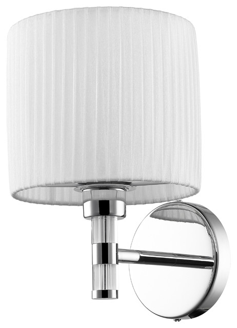Chrome Wall Sconce With Fabric Shade : Solal 1 Light Wall Sconce, Chrome Finish - Modern - Wall Sconces - by Golden Lighting