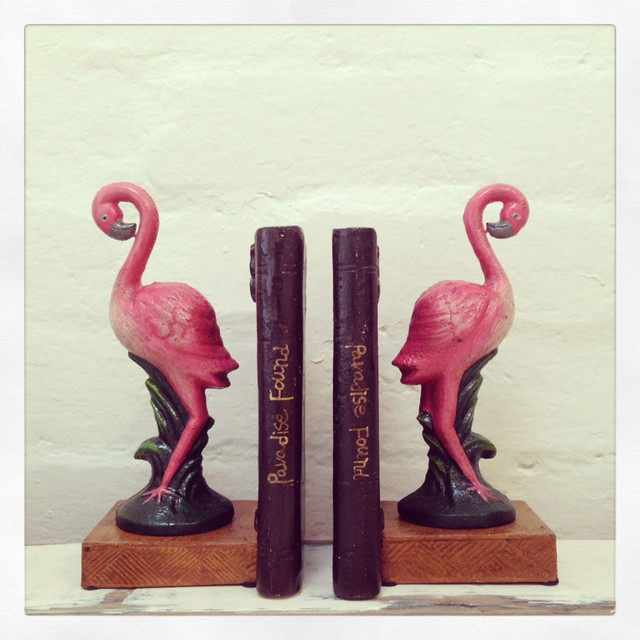 Pink Flamingo Bookends Contemporary Accessories And