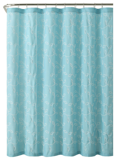 Gray Caleb Embroidered Leaves Fabric Bathroom Shower Curtain Aqua Contempo