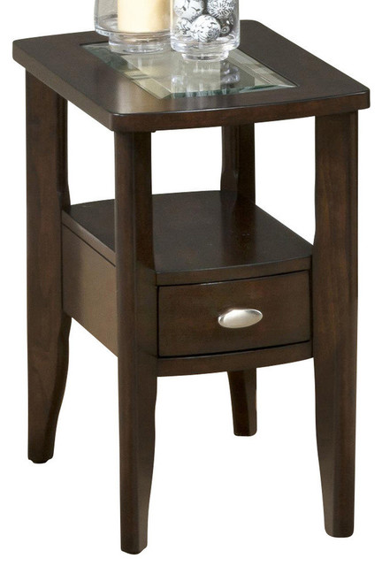 Jofran 827 7 Chairside Table with Drawer and Glass Insert