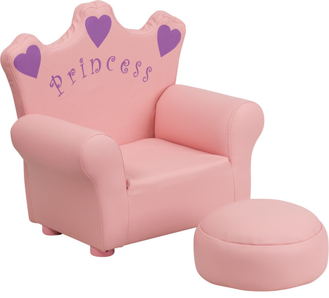 Flash furniture kids pink princess chair and footrest for Pink kids chair