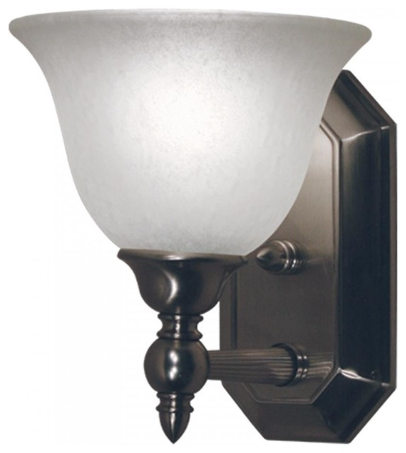 Bathroom Vanity Lights Traditional : One Light Brushed Nickel Antique Ivory Glass Bathroom Sconce - Traditional - Bathroom Vanity ...