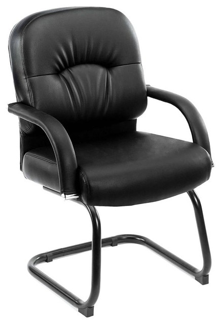 Office Guest Chair Upholstered In Black W Pad Contemporary Office Chairs