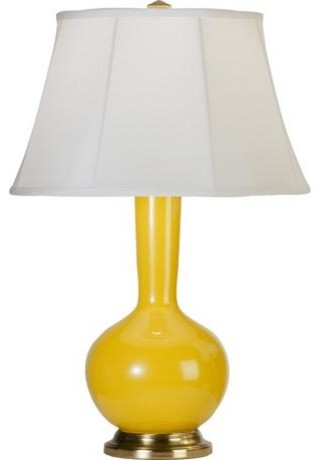 Robert Abbey Genie Brass And Yellow Ceramic Table Lamp