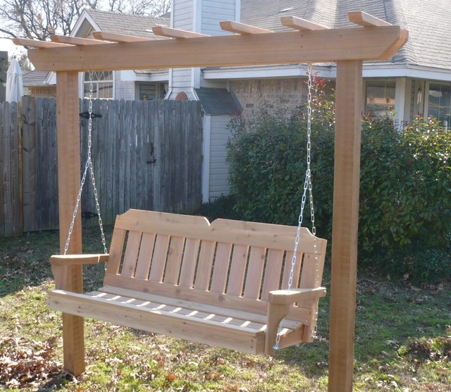 Arbor swing with victorian cedar porch swing traditional porch swings boston by porch - Arbor bench plans set ...
