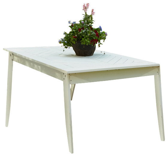 Plaza 85 dining table white distressed traditional for Distressed white dining table