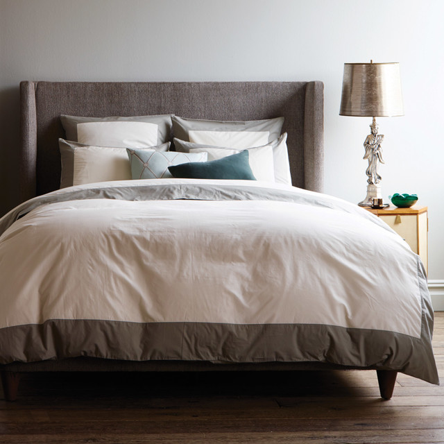 Dwellstudio Modern Border Smoke Duvet Cover Modern