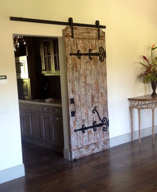 custom made handcrafted barn door and hand forged iron hardware - farmhouse - san diego