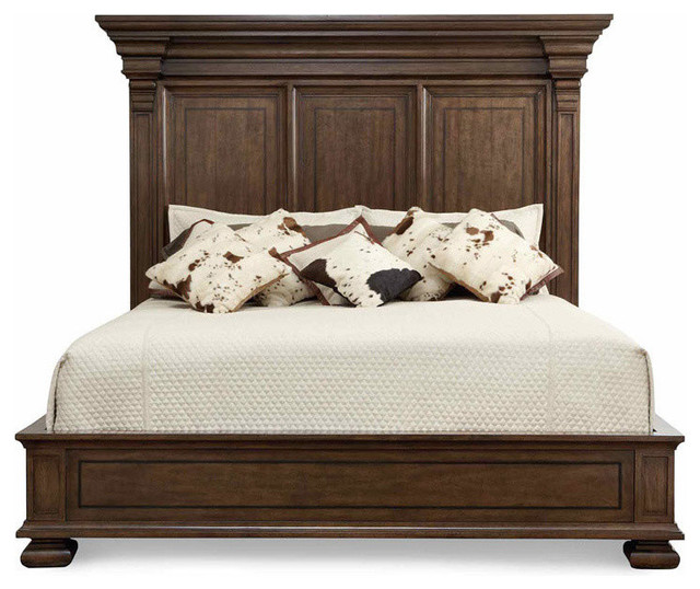 Bernhardt Huntington Panel Bed With Dark Wood Inlaid Border, Saddle - Traditional - Furniture ...