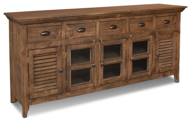 Distressed Solid Wood Curio Cabinet - Rustic - Buffets And Sideboards - by Crafters and Weavers