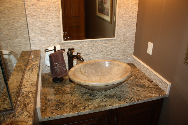 Travertine vessel bowl bathroom sinks cleveland by for Bathroom seen photos