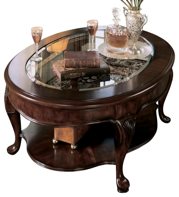 American Drew Cherry Grove Cocktail Table In Antique Cherry Traditional Coffee Tables By