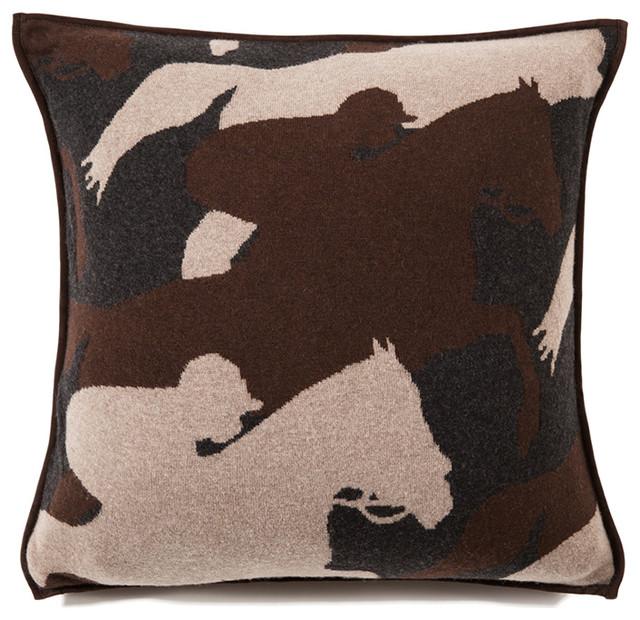 Decorative Horse Pillows : Rani Arabella Anthracite Cantering Horse Cashmere Blend Pillow, Anthracite - Farmhouse ...