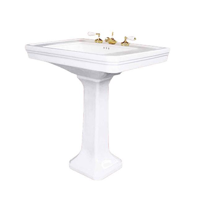 1920 Pedestal Sink : White China 1920S Victorian Pedestal Sink 8