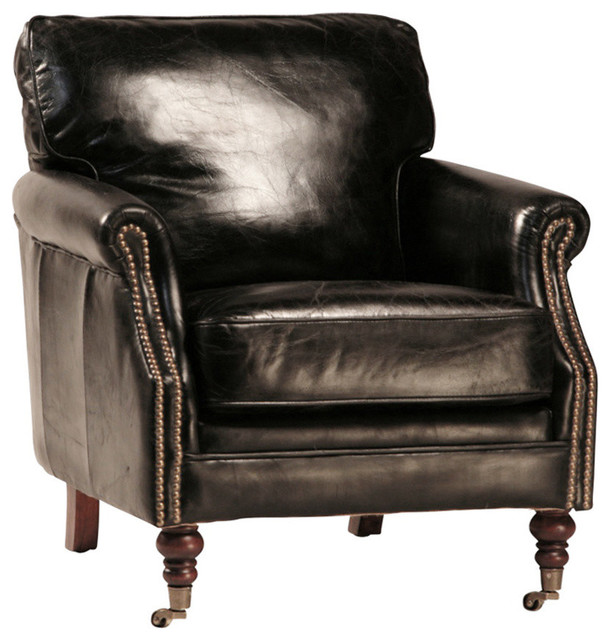 Aged Leather Club Chair With Brass Studs Black