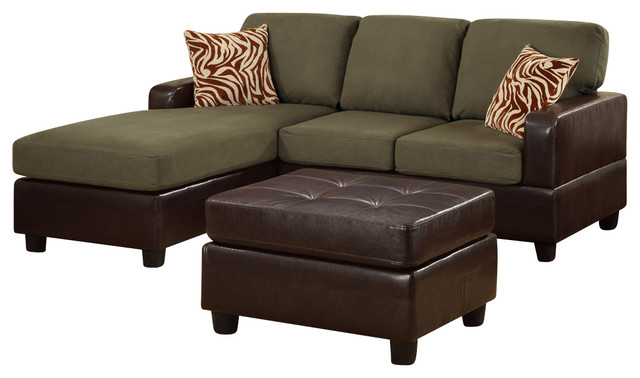Poundex F7670 Sage Colored Fabric Brown Leatherette