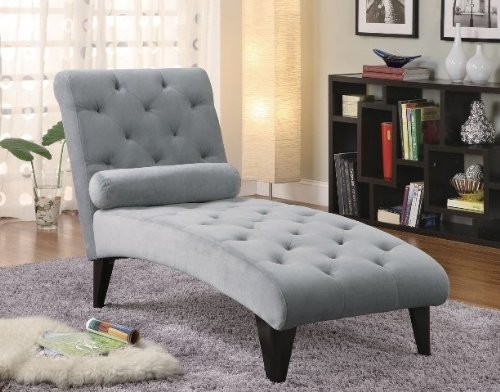 Coaster chaise lounge with button tufted gray velour for Button tufted chaise lounge