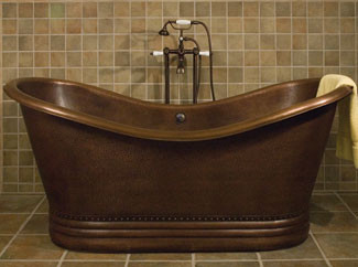 Paige Bateau Hammered Copper Double Slipper Bath Tub