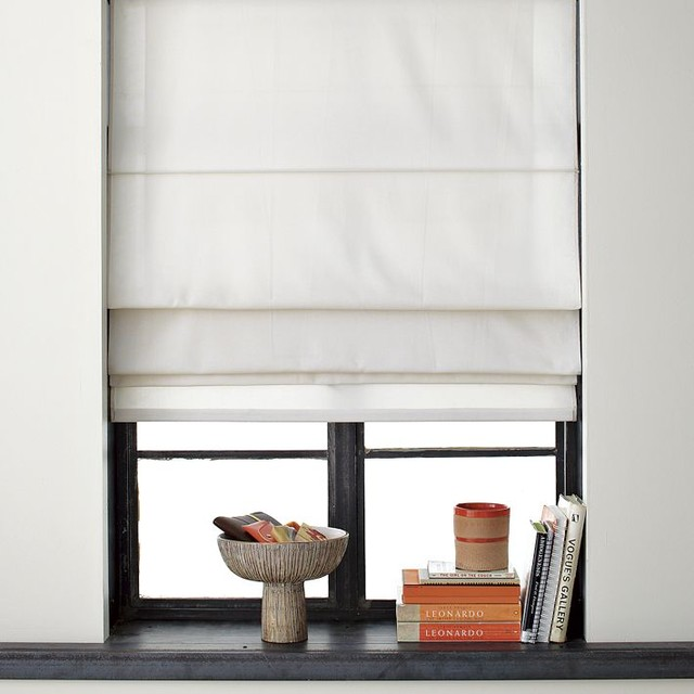 Solid roman shade contemporary curtains by west elm for West elm window treatments