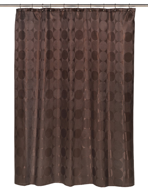 Jacquard Circles Fabric Shower Curtain In Brown