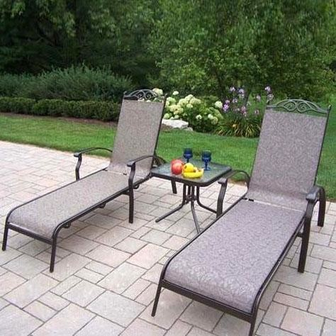 Oakland living cascade sling 2 person patio chaise lounge for 2 person outdoor chaise lounge