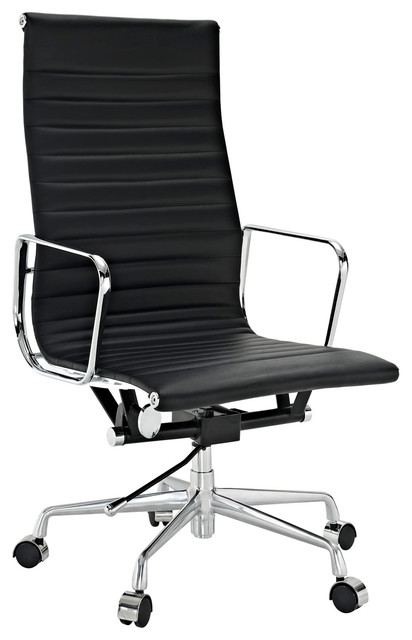 High back office chair in black genuine leather modern office chairs