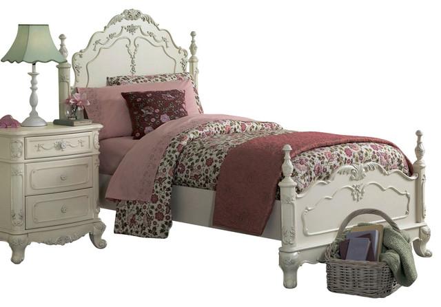 Homelegance Cinderella 5 Piece Kids 39 Poster Bedroom Set In White Traditional Kids Bedroom