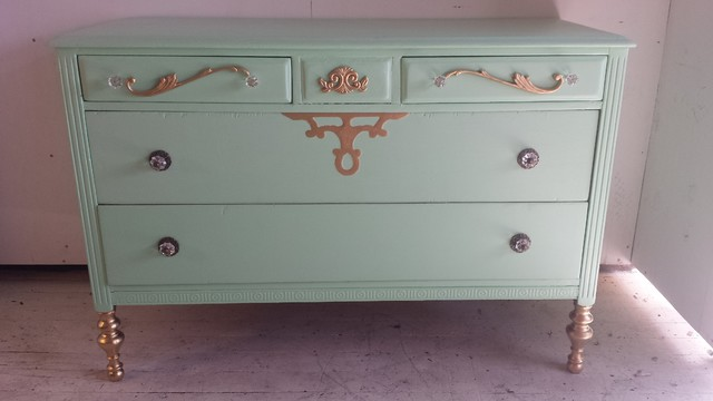 Seafoam Green And Gold Romantic Shabby Chic Dresser Farmhouse Buffets