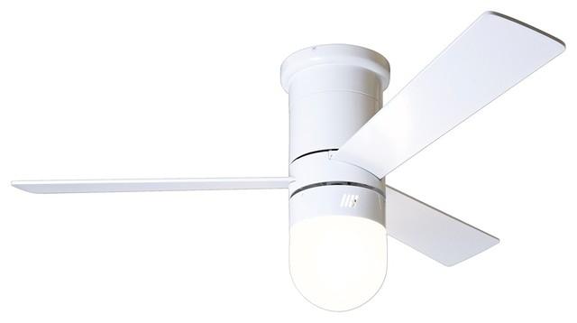 42 modern fan cirrus light gloss white hugger ceiling fan. Black Bedroom Furniture Sets. Home Design Ideas