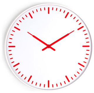 ultra flat wall clock red white contemporary wall