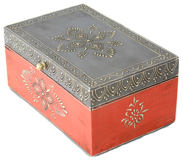 Hand Painted Wooden Jewelry Box In Orange And Grey And