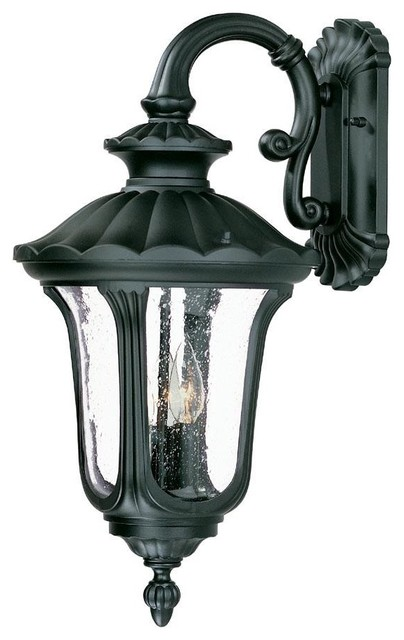 Matte black augusta 3 light 22 5 height outdoor wall for Height of sconces