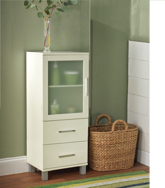 Simple Living Frosted Pane 2 Drawer Linen Cabinet ...