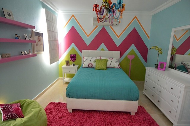 Teen girls chevron bedroom modern houston by droz design - Modern teenage girl bedroom ...