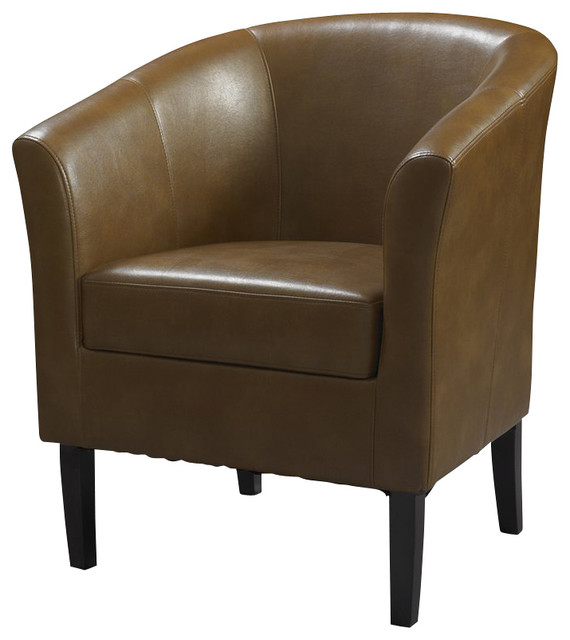 Linon Simon Russet Club Chair In Dark Walnut Modern Armchairs Accent Chairs By Cymax