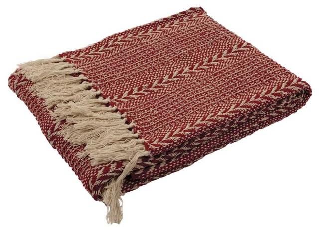 Burgundy Stripe Cotton Throw