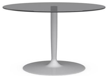 Table repas ronde planet de calligaris 120x120 en verre gris pi tement blanc - Table ronde verre trempe ...
