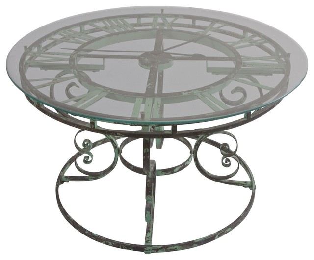 Uttermost Gilbertine Working Clock Coffee Table Traditional Dining Tables