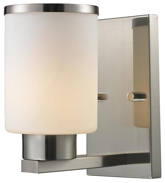 Contemporary Brushed Nickel Vanity Lights : 1 Light Vanity - Brushed Nickel Finish - Contemporary - Bathroom Vanity Lighting - by ShopLadder