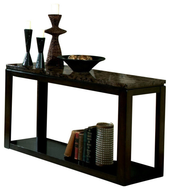 Bella sofa table deep brown finish contemporary for 8 deep console table