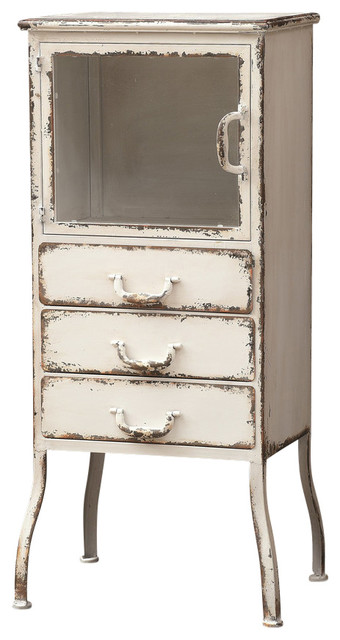 Distressed Metal Cabinet, 3 Drawers - Farmhouse - Pantry Cabinets - by First of a Kind USA Inc