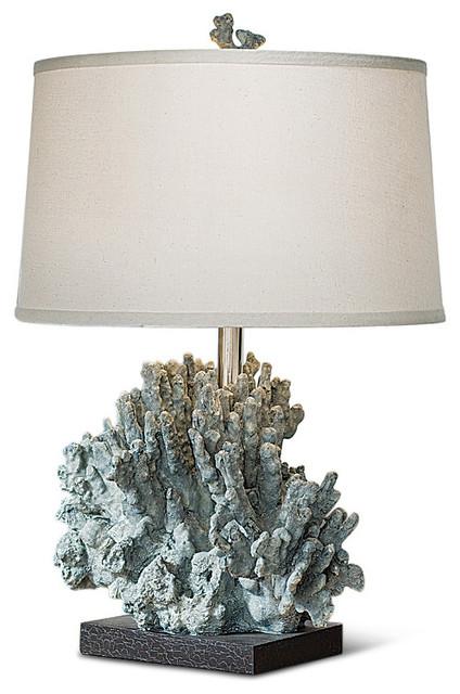 andros coastal beach blue grey coral table lamp beach