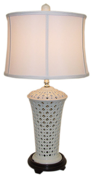 White Pierced Vase Porcelain Table Lamp - Contemporary - Table Lamps ...