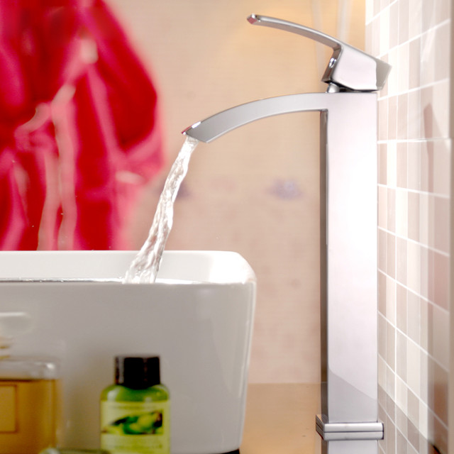 Angled Sink : Angled Spout Single Hole Vessel Sink Faucet contemporary-bathroom-sink ...