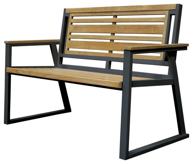 Contemporary Outdoor Benches: Asta Teak And Iron Bench, Black