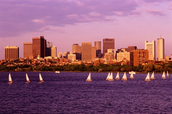 Boston with sailboats photo wall mural contemporary for Boston wall mural