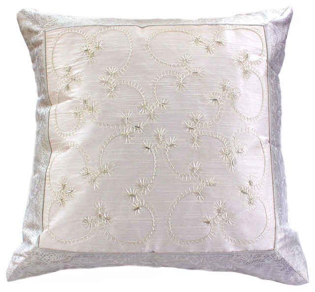How To Make A Decorative Pillow By Hand : Hand Embroidered Pillow Cover, Set of 2, Snow White - Asian - Decorative Pillows - by Banarsi ...