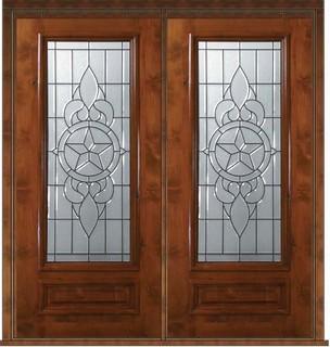 Prehung exterior double door 80 alder brazos 1 panel 3 4 for 10 panel glass door