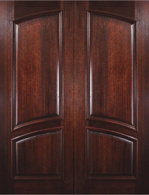 Slab entry double door 96 mahogany 2 panel solid rustic for Exterior door slab