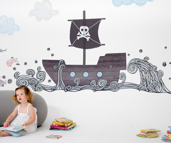 pirate boat reusable fabric wall decals by pop lolli
